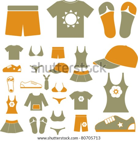 clothes icons  signs  vector