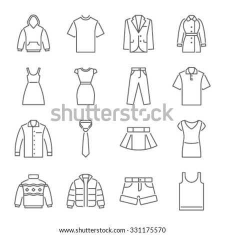 clothes icons  thin line style