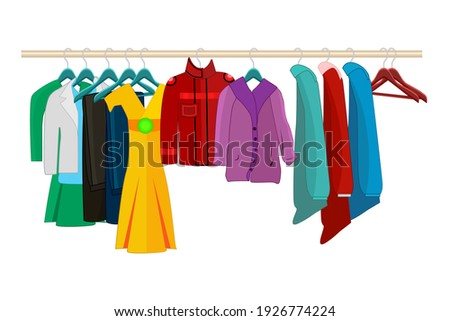Clothes on hangers isolated on white background. Clothes and accessories fashion set. Seasonal sale concept.Clothing organization or storage.Inner space of closet or wardrobe.Stock vector illustration