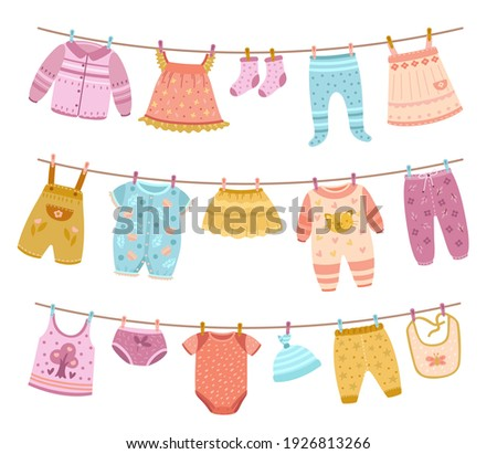 Clothes on ropes. Clothesline, kids cloth dry on lines. Children skirt socks shirt, isolated cartoon clean baby apparel hanging exact vector set