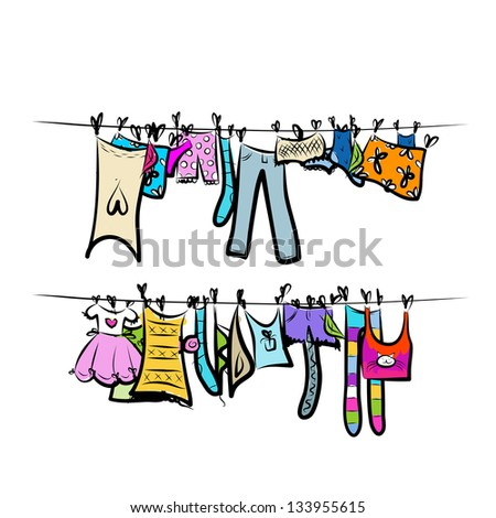 Clothes on the clothesline. Sketch for your design