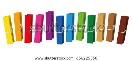 Clothes pegs - colored clothespins collection loosely arranged - isolated vector on white background. Stock photo ©