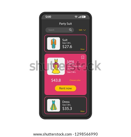 Clothes rent app smartphone interface vector template. Mobile shopping application page black design layout. Party suits, dresses rental screen. Flat UI. Online marketplace adverts on phone display