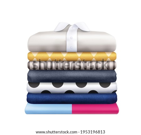 Clothes stacks realistic composition with stack of colorful striped and polka dot wear vector illustration Photo stock ©