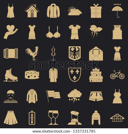 Clothing accessories icons set. Simple style of 36 clothing accessories vector icons for web for any design
