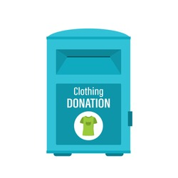 Clothing donation box isolated on white background. Charity donation, second hand things. Support service and humanitarian aid. Flat design vector illustration