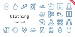 clothing icon set. line icon style. clothing related icons such as washing machine, pants, compress, thimble, vest, closet, priest, jacket, apron, shoes, jeans, patch, shirt, bikini, tshirt, hat, shoe