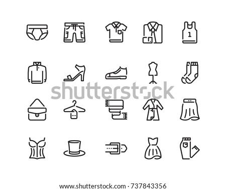Clothing icon set, outline style