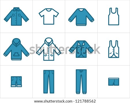 Clothing icons set 1. Set  of 12 men and unisex clothing icons. Easy to edit, resize and colorize