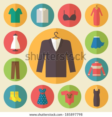 Shutterstock Clothing icons set, shopping elements, flat design vector