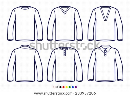 Clothing Pictograms, One Color Outline, Longsleeve Collection Regular, V Neck, High Collar, Buttoned, Polo