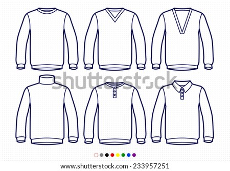 Clothing Pictograms, One Color Outline, Sweaters, V neck, Deep, High Collar, Buttoned, Polo