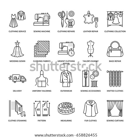 Clothing repair, alterations flat line icons set. Tailor store services - dressmaking, clothes steaming, curtains sewing. Linear signs for atelier.