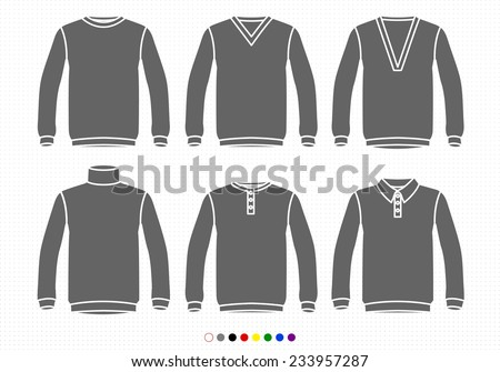 Clothing Silhouettes Sweaters, V neck, Deep, High Collar, Buttoned, Polo