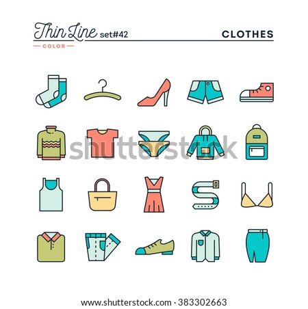 clothing  thin line color icons