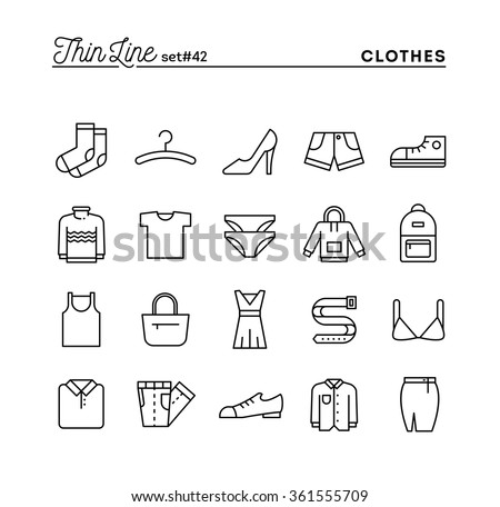 Clothing, thin line icons set, vector illustration