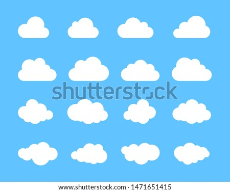 Cloud. Abstract white cloudy set isolated on blue background. Vector illustration.