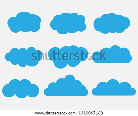 Cloud. Abstract white cloudy set isolated on gray background. Vector illustration. - Vector