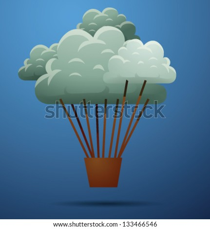 Cloud air balloon, vector