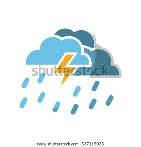 cloud and bolt weather  icon over white background. colorful design. vector illustration