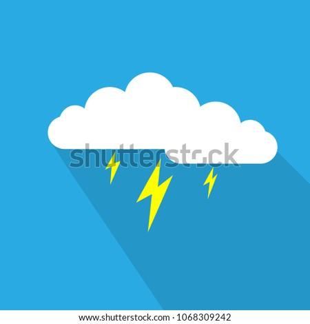 Cloud and lightnings flat design vector illustration on blue background.