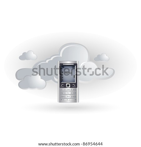 cloud and mobile phone icon