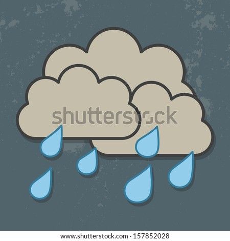Cloud and rain isolated on Dark Sky.