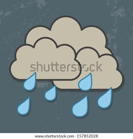cloud and rain isolated on dark