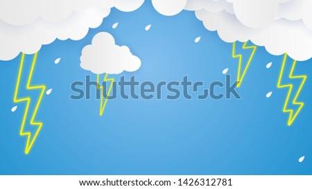 cloud and rain on blue