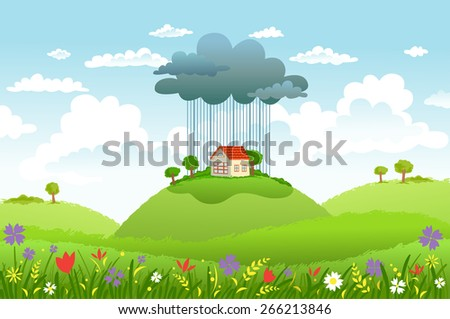 cloud and rain over one house
