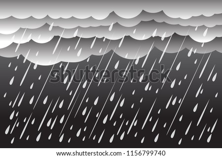 Cloud and rain, rainy season, vector design , illustration.