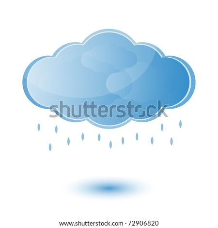 Cloud and rain - weather forecast - vector bright icon