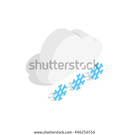 Cloud and snowflakes icon in isometric 3d style on a white background