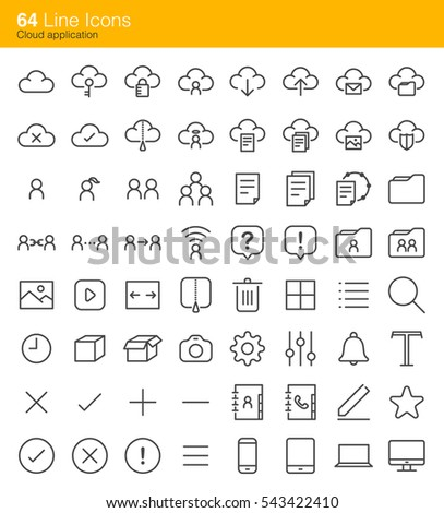 Cloud application icons. Included the icons as cloud services, data, storage, report, setting, streaming and more.
