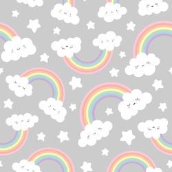 Cloud Background, Rainbow Seamless Pattern, Cartoon Vector Illustration, Grey  Sky Background for Kid