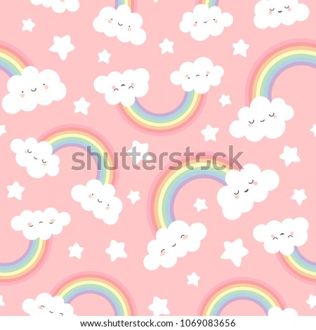 Cloud Background, Rainbow Seamless Pattern, Cartoon Vector Illustration, Pink  Sky Background for Kid