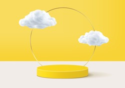 Cloud background vector 3d yellow rendering with podium product cloud scene, minimal display background 3d rendering product display yellow pastel. Stage for display showcase on cloud in podium 3d