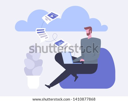 Cloud Backup. Man with laptop. Network cloud service. Migration. Backup concept. Copying file. Server. Data Center. Database Synchronize Technology. Flat design modern vector illustration concept.