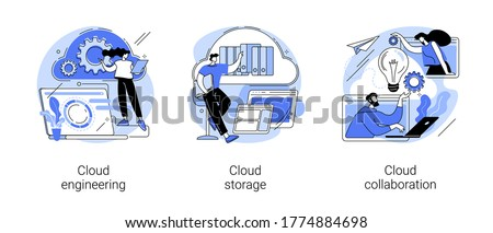 Cloud-based computing abstract concept vector illustration set. Cloud engineering, storage and collaboration, hosted data storage, database security, remote business solutions abstract metaphor.