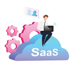 Cloud based CRM flat concept vector illustration. Man with laptop sitting on cumulus 2D cartoon characters for web design. Businessman in shirt, pants and necktie. SaaS creative idea