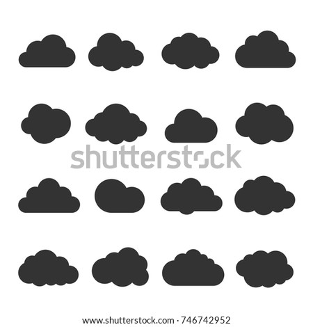 Cloud black icon set. Safe, secure and scalable data protection. Cloud storage and sharing over the Internet. Vector flat style cartoon illustration isolated on white background