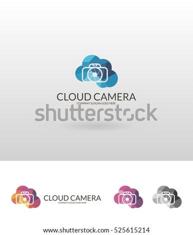 Cloud camera. Polygonal camera logo