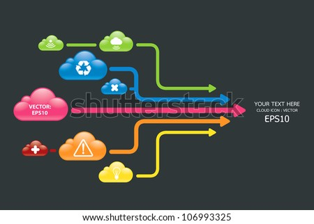 cloud color arrow graph vector