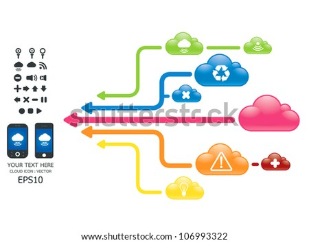 cloud color arrow graph with mobile vector