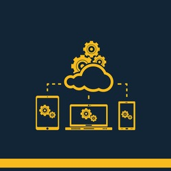 Cloud computer technology vector icon. Network infrastructure concept. Social networking communication illustration. Laptop, tablet and smartphone image.