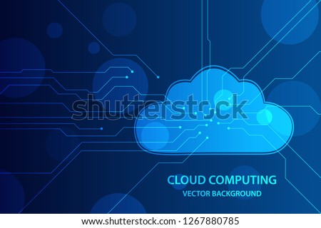 Cloud computing and network security technology concept, blue circuit board with cloud symbol and connection links. vector illustration. eps 10