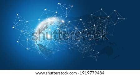 Cloud Computing and Networks Concept with Earth Globe - Abstract Global Digital Connections, Technology Background, Creative Design Template