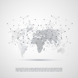 Cloud Computing and Networks with World Map - Abstract Global Digital Network Connections, Technology Concept Background, Creative Design Element Template with Transparent Geometric Grey Wire Mesh