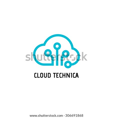 Cloud computing and storage vector logo. Technology design template. Cloud computing logo. Cloud technologies logo. Cloud logo. Best cloud technologies logo. Cloud line art logo. Cloud chip logo