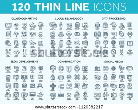 Cloud computing and technology.Data storage. Seo,development. Social network,communication. Internet connection. Email message. Thin line blue icons set. Stroke.